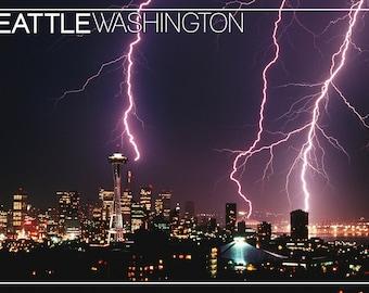 Seattle, Washington - Skyline and Lightening Strike (Art Prints available in multiple sizes)