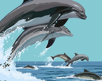 Myrtle Beach, South Carolina - Dolphins Swimming (Art Prints available in multiple sizes)