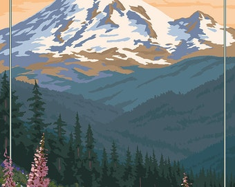 Mount Rainier National Park - Bear Family and Spring Flowers (Art Prints available in multiple sizes)