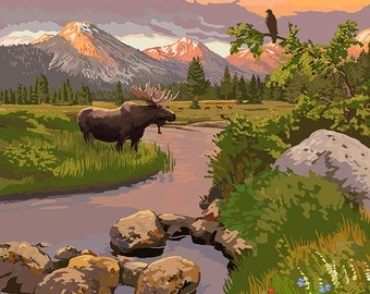 Nederland, Colorado - Moose and Sunset (Art Prints available in multiple sizes)
