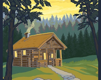 Blue Ridge Mountains - Cabin in Woods (Art Prints available in multiple sizes)