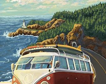 Bandon, Oregon - VW Van Coast Scene (Art Prints available in multiple sizes)