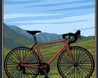 Maine - Bicycle Scene (Art Prints available in multiple sizes)