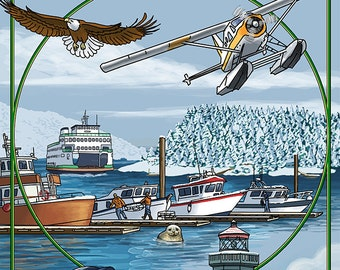 Friday Harbor, San Juan Island, WA Snow Version (Art Prints available in multiple sizes)