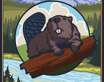 Grants Pass, Oregon Beaver and Mountain (Art Prints available in multiple sizes)
