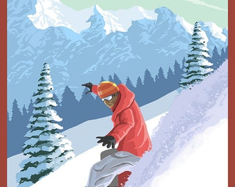 Mount Washington, BC, Canada - Snowboarder (Art Prints available in multiple sizes)