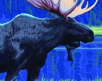 Fernie, Canada - Moose at Night (Art Prints available in multiple sizes)