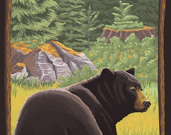Black Bear in Forest - Mount Hood, Oregon (Art Prints available in multiple sizes)