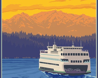 Ferry and Mountains - Friday Harbor, Washington (Art Prints available in multiple sizes)