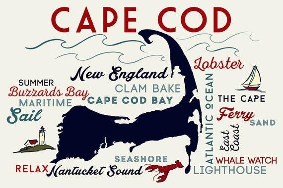 Cape Cod Typography and Icons Art Prints available in