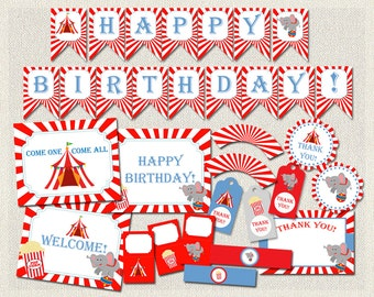 Birthday Pack, Birthday Carnival package, Circus Party Pack, Red, Blue, Elephant, Birthday Party, decoration package, decoration pack (167)