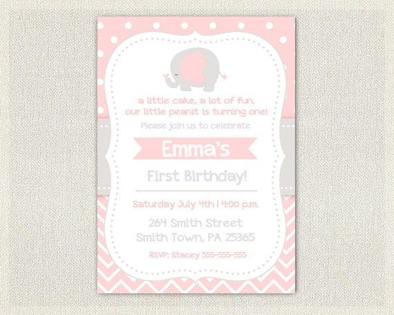 Pink and Gray Elephant Birthday Invitation Girls Pink 1st 2nd 3rd – Elephant Birthday Invitations