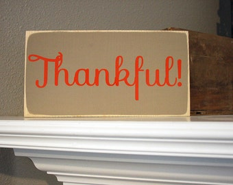 "12x6"" Thankful Wood Sign"