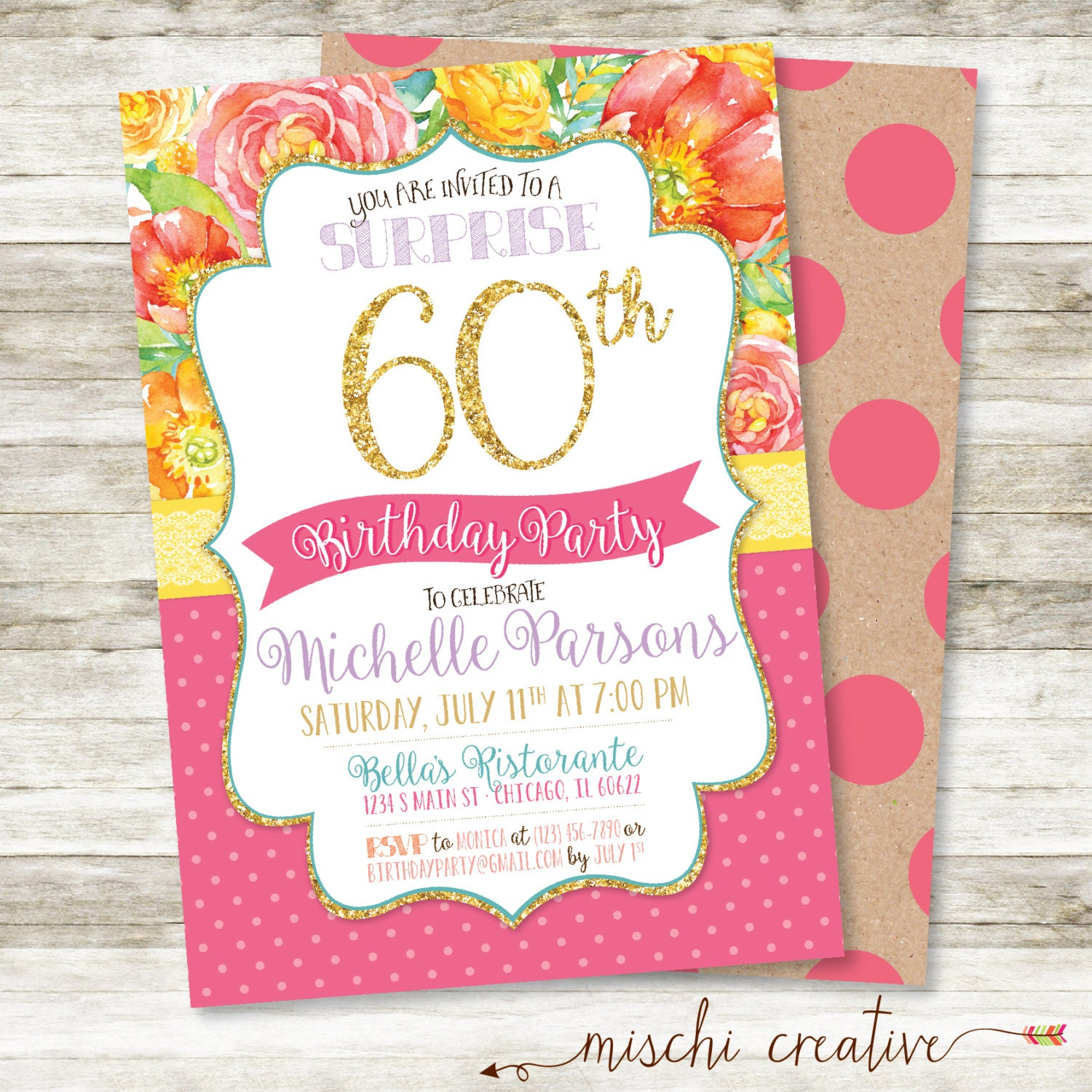 60th birthday invitation for her glitter  u0026 glam flowers and
