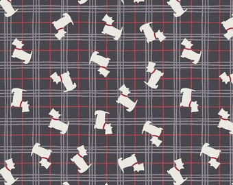 Lewis & Irene Patchwork Quilting Fabric The Glen - A87.1 - Scottie on black