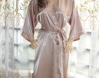 "Long  charmeuse robe .  53""Floor length  robe. Plus size robe"