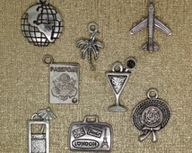 8 pc Travel Charm Collection Antique Silver Tone, 8 Great quality Different Charms