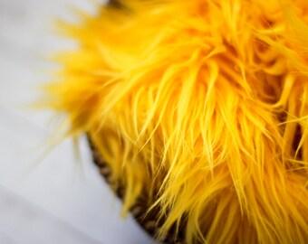 Faux Fur 18x20 Yellow Photography Backdrop, Newborn Photo Prop, Faux Fur Fabric, Basket Filler, Layering Blanket
