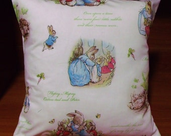 "Peter Rabbit, Beatrix Potter cushion cover - baby nursery 16"" x 16"""