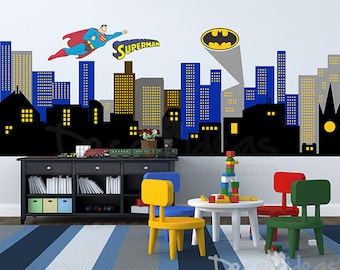 City Silhouette Wall Decal, City Buildings Wall Decal, Boys Room Decal, Nursery  Wall Part 84