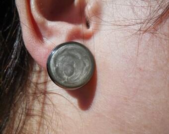 Big studs earrings, silver gray earrings, light gray round studs, 16mm, large dot earrings