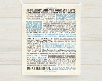 Desiderata by Max Ehrmann, Unstretched Canvas Print, Pick your colors