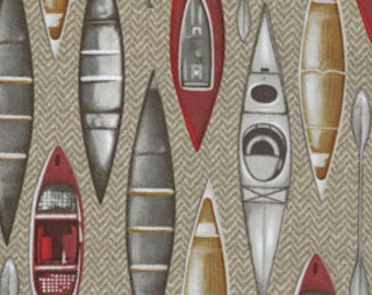 One Yard North by Northwest - Herringbone Kayak in Khaki - Cotton Quilt Fabric - by Kanvas - Benartex (W2839)