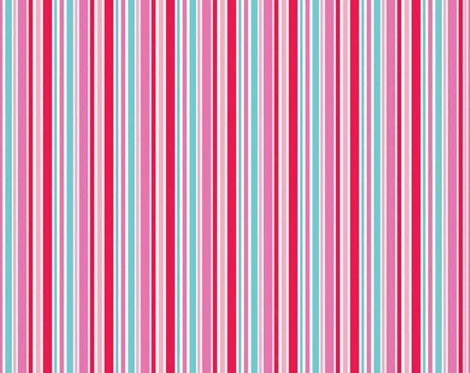 One Yard Lovey Dovey - Stripes in Red - Cotton Quilt Fabric - C3656-RED - by Doodlebug Designs for Riley Blake Designs (W2516)