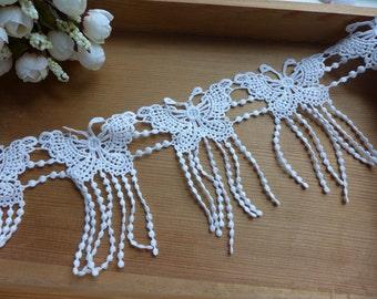 White Butterfly Lace Dangle Fringe Lace Trim for Bridal, Appliques, Scrapbooks, Dolls, Embellishment