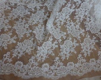 White Alençon Fabric Gorgeous Lace Bridal Fabric for Formal Dress, Bridal Bolero, Bridesmaid Gown, Costumes
