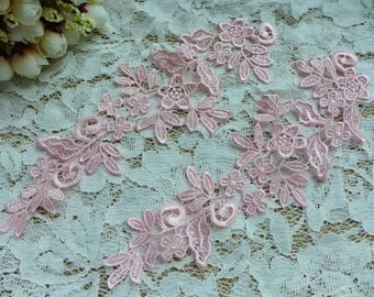 Pink Bridal Floral Applique, Venice Lace Applique, Weddings, Headbands, Costume Design