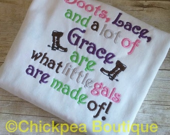 Embroidery Design: Boots, Lace and a lot of Grace are what Little Gals are Made Of Country Instant Download 4x4, 5x7 Chickpea