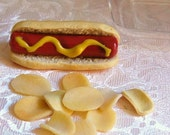 American Girl Food. Hotdog with Mustard and Potato Chips