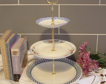Beautiful Vintage Plates Cake Stand - 3 Tier - With Contrasting Blue & White Plates and Gold Stem - E11