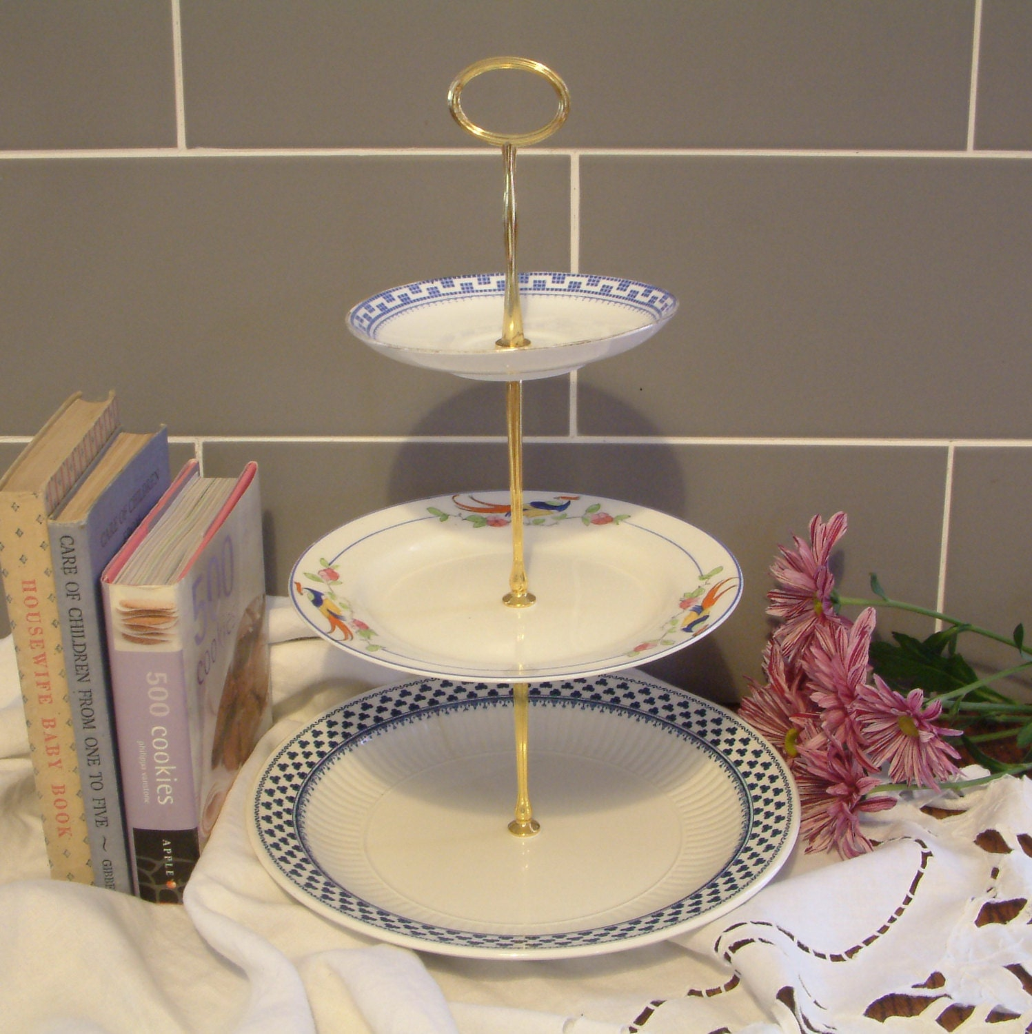 Beautiful vintage plates cake stand 3 tier with Beautiful plates