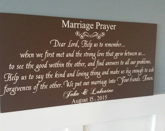 A Marriage Prayer Personalized, hand painted wood sign. NO vinyl Home Decor Wall Art Wedding Gift