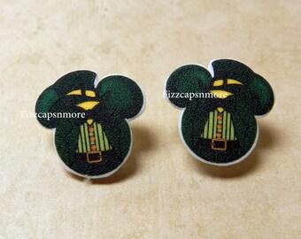 Leprechaun St Patricks Day Inspired Mouse Head Ears W/ Nickel Free Posts Earrings