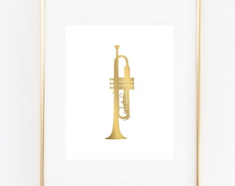 Trumpet Art Print, Faux Gold Trumpet, Musical Instrument 5x7, 8X10, 11x14 Music Art, Trumpet Wall Art, Music Room Decor, Orchestra Art