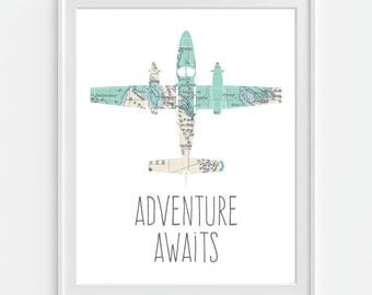 Airplane Art Print 'Adventure Awaits' Map Art 5x7  8X10 11x14 Aviation, Boys Nursery Decor, Nursery Wall Art, Baby Shower Gift, Plane Art