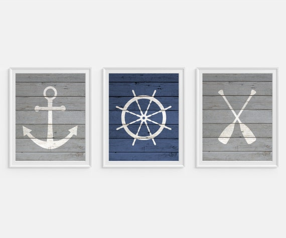 Nautical Wall Decor Oars: Nautical Art Prints Oars Life Saver Buoy Anchor Set Of 3