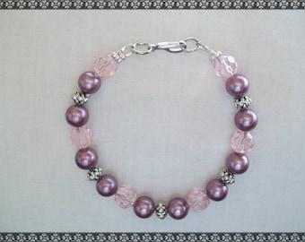 dark pink bracelet, dark pink, shell bracelet, pink bracelet