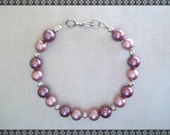 pink bracelet, swarovski bracelet, shell bracelet, dark pink, light pink, pink pearls