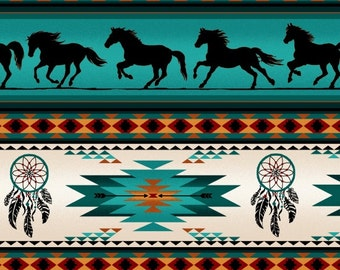 Elizabeth's Studio cotton fabric-TUCSON-galloping horses, southwest, native American-1 yd