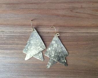 Asymmetrical Brass Dangle Earrings