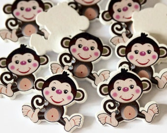 10 Monkey Shaped Buttons - Painted Wood Buttons - 28mm x 29mm - Animal Buttons - Zoo Buttons - Wooden Buttons - Novelty Buttons - PW161
