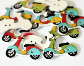 10 Scooter Buttons 27mm x 19mm - Motorbike Buttons - Motorcycle Buttons - Wood Vehicles Print - Transport Buttons - Novelty Buttons - PW166