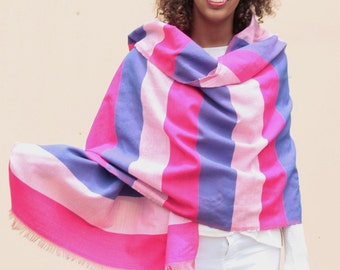 Pink and blue wool scarf