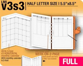 FULL [HALF size v3s3 w/o daily] January to December 2018 -Half Letter Filofax Inserts Printable Binder Planner Midori.