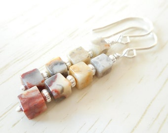 Crazy Lace Agate Cube Drop Earrings, Tiny Stone Cube Beaded Silver Earrings, Agate Earrings, Ombré Stacked Earrings, Multicolor Jewelry