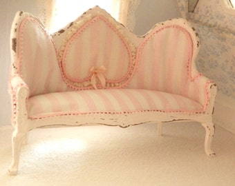 french shabby chic sofa-1/12 scale